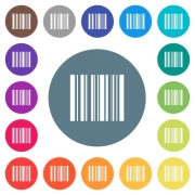 Barcode flat white icons on round color backgrounds. 17 background color variations are included. - Barcode flat white icons on round color backgrounds