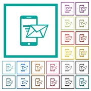 Sending email from mobile phone flat color icons with quadrant frames on white background - Sending email from mobile phone flat color icons with quadrant frames