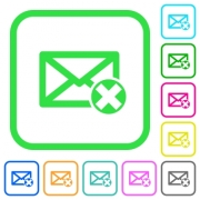 Delete mail vivid colored flat icons in curved borders on white background - Delete mail vivid colored flat icons
