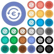 Euro pay back guarantee sticker multi colored flat icons on round backgrounds. Included white, light and dark icon variations for hover and active status effects, and bonus shades on black backgounds.