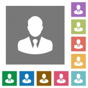 Businessman avatar flat icons on simple color square backgrounds - Businessman avatar square flat icons