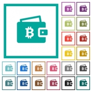 Bitcoin wallet flat color icons with quadrant frames on white background - Bitcoin wallet flat color icons with quadrant frames