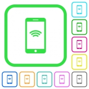 Cellphone with wireless network symbol vivid colored flat icons in curved borders on white background - Cellphone with wireless network symbol vivid colored flat icons