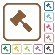 Judge hammer simple icons in color rounded square frames on white background - Judge hammer simple icons