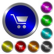 Empty shopping cart icons on round luminous coin-like color steel buttons - Empty shopping cart luminous coin-like round color buttons
