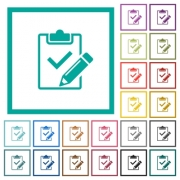 Fill out checklist flat color icons with quadrant frames on white background - Fill out checklist flat color icons with quadrant frames