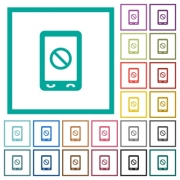 Mobile disabled flat color icons with quadrant frames on white background - Mobile disabled flat color icons with quadrant frames