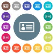 ID card flat white icons on round color backgrounds. 17 background color variations are included. - ID card flat white icons on round color backgrounds