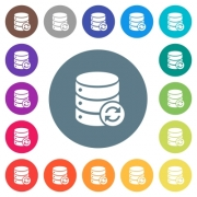 Syncronize database flat white icons on round color backgrounds. 17 background color variations are included. - Syncronize database flat white icons on round color backgrounds