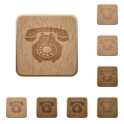 Vintage retro telephone on rounded square carved wooden button styles - Vintage retro telephone wooden buttons
