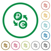 Ruble Euro money exchange flat color icons in round outlines on white background - Ruble Euro money exchange flat icons with outlines