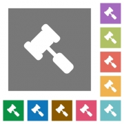 Judge hammer flat icons on simple color square backgrounds - Judge hammer square flat icons