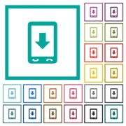 Mobile scroll down flat color icons with quadrant frames on white background - Mobile scroll down flat color icons with quadrant frames
