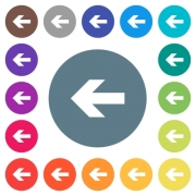 Left arrow flat white icons on round color backgrounds. 17 background color variations are included. - Left arrow flat white icons on round color backgrounds