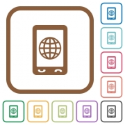 Mobile internet simple icons in color rounded square frames on white background - Mobile internet simple icons