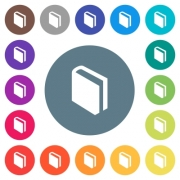 Single book flat white icons on round color backgrounds. 17 background color variations are included. - Single book flat white icons on round color backgrounds