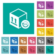 One day package delivery multi colored flat icons on plain square backgrounds. Included white and darker icon variations for hover or active effects. - One day package delivery square flat multi colored icons