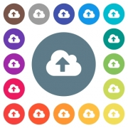 Cloud upload flat white icons on round color backgrounds. 17 background color variations are included. - Cloud upload flat white icons on round color backgrounds