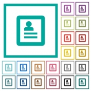 User profile flat color icons with quadrant frames on white background - User profile flat color icons with quadrant frames