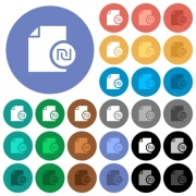 Israeli new Shekel financial report multi colored flat icons on round backgrounds. Included white, light and dark icon variations for hover and active status effects, and bonus shades on black backgounds. - Israeli new Shekel financial report round flat multi colored icons