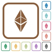 Ethereum classic digital cryptocurrency simple icons in color rounded square frames on white background - Ethereum classic digital cryptocurrency simple icons