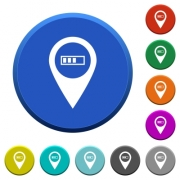 Route planning GPS round color beveled buttons with smooth surfaces and flat white icons - Route planning GPS beveled buttons