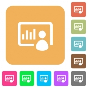 Presentation flat icons on rounded square vivid color backgrounds.
