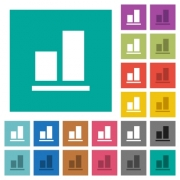 Align to bottom multi colored flat icons on plain square backgrounds. Included white and darker icon variations for hover or active effects. - Align to bottom square flat multi colored icons