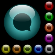 Blank chat bubble icons in color illuminated spherical glass buttons on black background. Can be used to black or dark templates