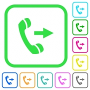Outgoing phone call vivid colored flat icons in curved borders on white background - Outgoing phone call vivid colored flat icons