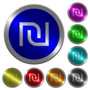 Israeli new Shekel sign icons on round luminous coin-like color steel buttons - Israeli new Shekel sign luminous coin-like round color buttons