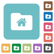Home folder white flat icons on color rounded square backgrounds - Home folder rounded square flat icons