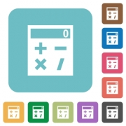 Pocket calculator white flat icons on color rounded square backgrounds - Pocket calculator rounded square flat icons