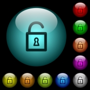 Unlocked padlock with keyhole icons in color illuminated spherical glass buttons on black background. Can be used to black or dark templates - Unlocked padlock with keyhole icons in color illuminated glass buttons - Large thumbnail