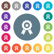 Award with ribbons flat white icons on round color backgrounds. 17 background color variations are included. - Award with ribbons flat white icons on round color backgrounds