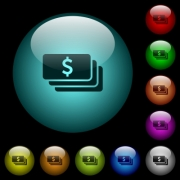 Dollar banknotes icons in color illuminated spherical glass buttons on black background. Can be used to black or dark templates - Dollar banknotes icons in color illuminated glass buttons - Large thumbnail