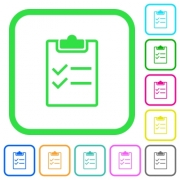 Checklist vivid colored flat icons in curved borders on white background - Checklist vivid colored flat icons