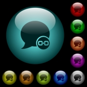 Blog comment attachment icons in color illuminated spherical glass buttons on black background. Can be used to black or dark templates - Blog comment attachment icons in color illuminated glass buttons - Large thumbnail