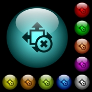 Cancel size icons in color illuminated spherical glass buttons on black background. Can be used to black or dark templates - Cancel size icons in color illuminated glass buttons - Large thumbnail