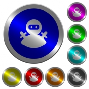 Ninja avatar icons on round luminous coin-like color steel buttons - Ninja avatar luminous coin-like round color buttons