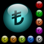 Turkish Lira sign icons in color illuminated spherical glass buttons on black background. Can be used to black or dark templates - Turkish Lira sign icons in color illuminated glass buttons - Large thumbnail