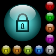 Locked padlock with keyhole icons in color illuminated spherical glass buttons on black background. Can be used to black or dark templates - Locked padlock with keyhole icons in color illuminated glass buttons - Large thumbnail