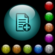 Add new document icons in color illuminated spherical glass buttons on black background. Can be used to black or dark templates - Add new document icons in color illuminated glass buttons