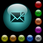 Mail sent icons in color illuminated spherical glass buttons on black background. Can be used to black or dark templates - Mail sent icons in color illuminated glass buttons