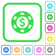 Dollar casino chip vivid colored flat icons in curved borders on white background - Dollar casino chip vivid colored flat icons