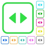 Horizontal control arrows vivid colored flat icons in curved borders on white background - Horizontal control arrows vivid colored flat icons