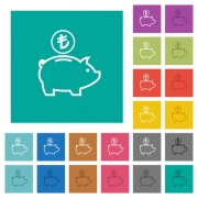 Turkish Lira piggy bank multi colored flat icons on plain square backgrounds. Included white and darker icon variations for hover or active effects. - Turkish Lira piggy bank square flat multi colored icons