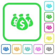 Money bags vivid colored flat icons in curved borders on white background - Money bags vivid colored flat icons