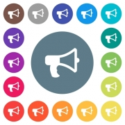 Megaphone flat white icons on round color backgrounds. 17 background color variations are included. - Megaphone flat white icons on round color backgrounds