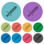 Sword darker flat icons on color round background - Sword color darker flat icons